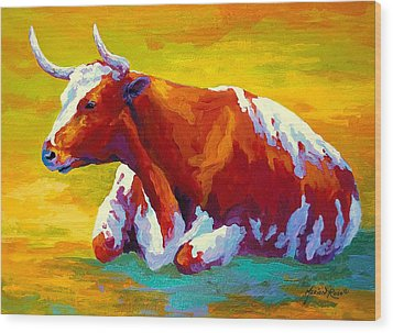 Longhorn Cow Wood Print by Marion Rose