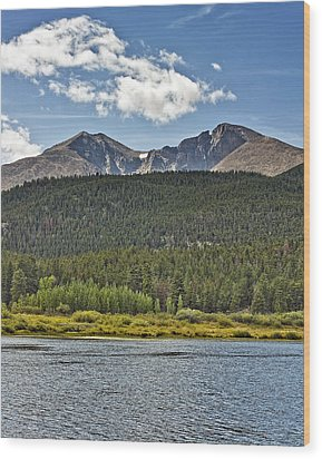 Longs Peak And Mount Meeker Above Lily Lake In Rocky Mountain National Park Colorado Wood Print by Brendan Reals