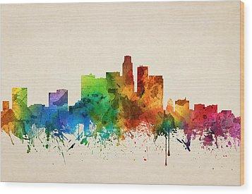 Los Angeles California Skyline 05 Wood Print by Aged Pixel