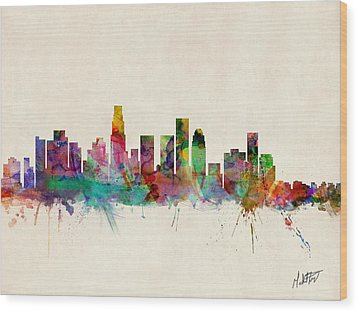 Los Angeles California Skyline Signed Wood Print by Michael Tompsett