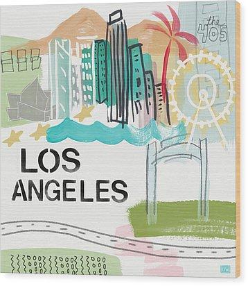 Los Angeles Cityscape- Art By Linda Woods Wood Print by Linda Woods