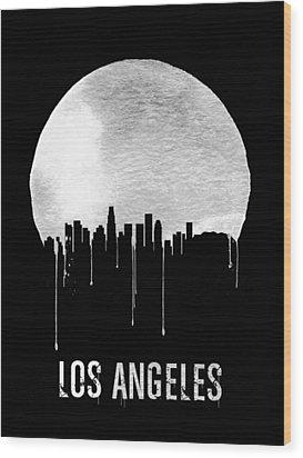 Los Angeles Skyline Black Wood Print by Naxart Studio