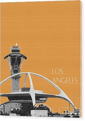 Los Angeles Skyline Lax Spider - Orange Wood Print by DB Artist