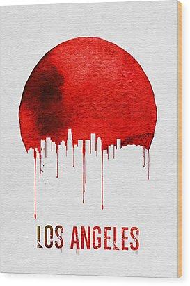 Los Angeles Skyline Red Wood Print by Naxart Studio