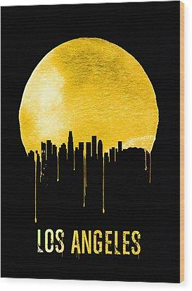 Los Angeles Skyline Yellow Wood Print by Naxart Studio