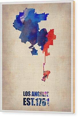 Los Angeles Watercolor Map 1 Wood Print by Naxart Studio