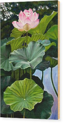 Lotus Rising Wood Print by John Lautermilch