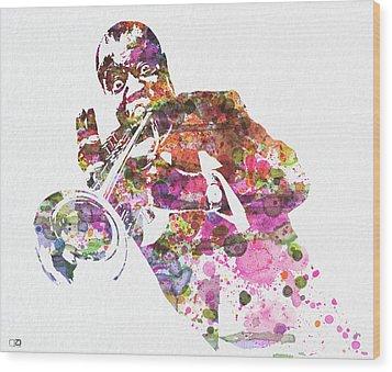 Louis Armstrong 2 Wood Print by Naxart Studio