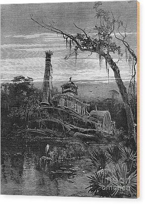 Louisiana: Steamboat Wreck Wood Print by Granger