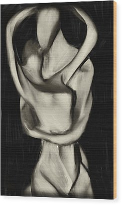 Lovers Embrace Wood Print by David Ridley