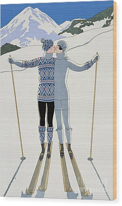 Lovers In The Snow Wood Print by Georges Barbier