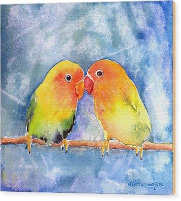 Lovey Dovey Lovebirds Wood Print by Arline Wagner