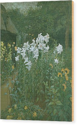 Madonna Lilies In A Garden Wood Print by Walter Crane