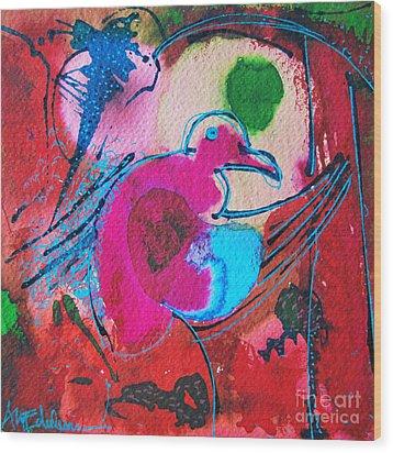 Magenta Marching Bird Wood Print by Ana Maria Edulescu