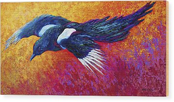 Magpie In Flight Wood Print by Marion Rose