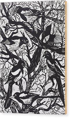 Magpies Wood Print by Nat Morley