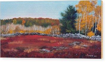 Maine Wild Blueberries Wood Print by Laura Tasheiko