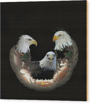 Majestic Eagles Wood Print by Julie Grace