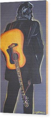 Man In Black's Back Wood Print by Eric Dee