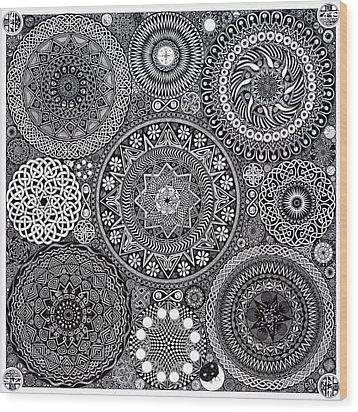 Mandala Bouquet Wood Print by Matthew Ridgway