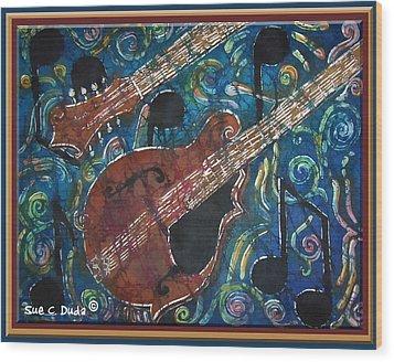 Mandolin - Bordered Wood Print by Sue Duda