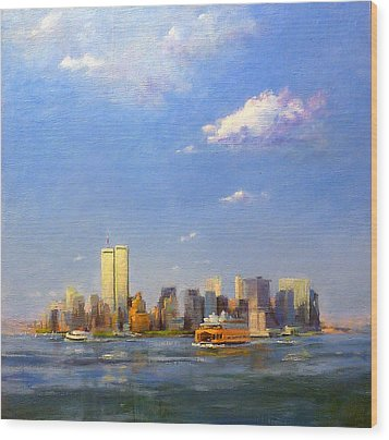Manhattan And Twin Towers From New York Harbor Wood Print by Peter Salwen