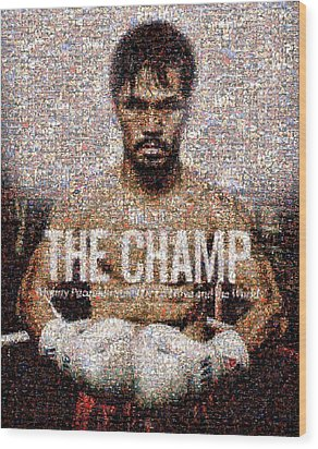 Manny Pacquiao-the Champ Wood Print by Ted Castor