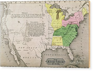 Map Of The United States Wood Print by John Warner Barber and Henry Hare