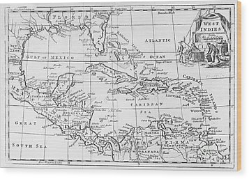 Map Of The West Indies Florida And South America Wood Print by English School