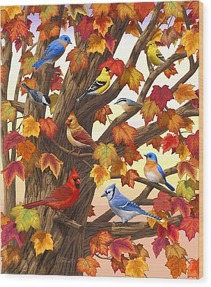 Maple Tree Marvel - Bird Painting Wood Print by Crista Forest