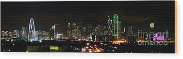 Margaret Hunt Hill Bridge And Dallas Skyline Wood Print by Wendy Emel