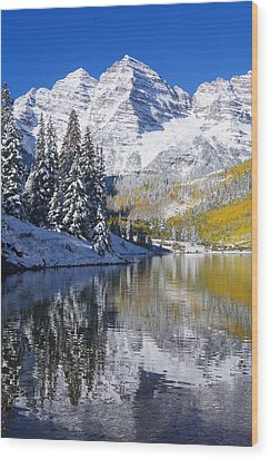 Maroon Lake And Bells 2 Wood Print by Ron Dahlquist - Printscapes