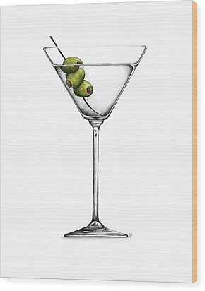 Martini Wood Print by Christina Meeusen