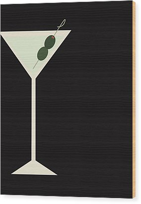 Martini Wood Print by Julia Garcia