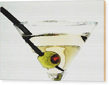 Martini With Green Olive Wood Print by Sharon Cummings