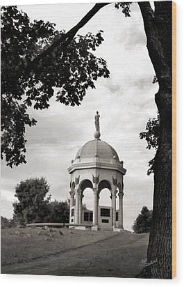 Maryland Monument Black And White Wood Print by Judi Quelland