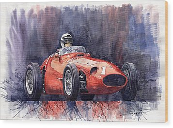 Maserati 250f Wood Print by Yuriy  Shevchuk