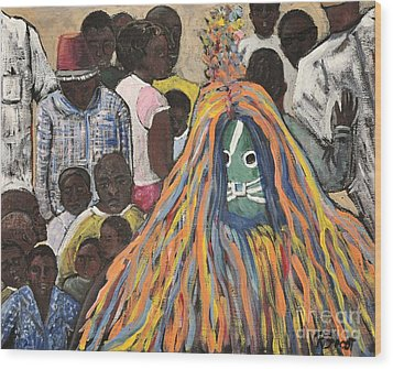 Mask Ceremony Burkina Faso Wood Print by Reb Frost
