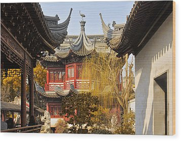 Massive Upturned Eaves - Yuyuan Garden Shanghai China Wood Print by Christine Till