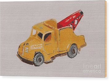 Matchbox Tow Truck Wood Print by Glenda Zuckerman