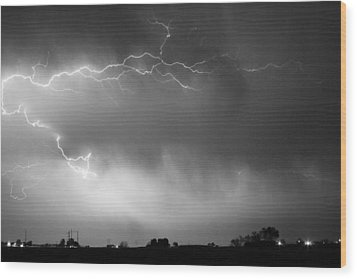 May Showers 2 In Bw - Lightning Thunderstorm 5-10-2011 Boulder C Wood Print by James BO  Insogna