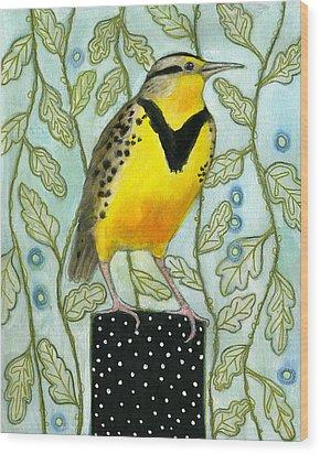 Meadowlark Black Dot Box Wood Print by Blenda Tyvoll