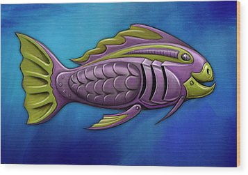 Mechanical Fish 4 Harley Wood Print by David Kyte