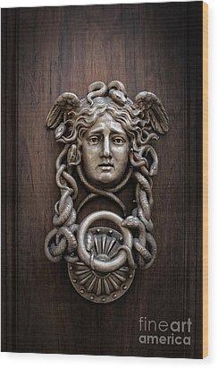 Medusa Head Door Knocker Wood Print by Edward Fielding