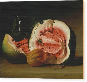 Melons And Morning Glories  Wood Print by Raphaelle Peale