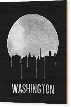 Memphis Skyline Black Wood Print by Naxart Studio