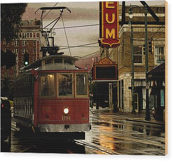 Memphis Tennissee Streetcar Wood Print by Don Wolf