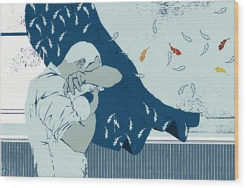 Men And Talking Wood Print by Mark Smith