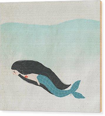 Mermaid Wood Print by Carolina Parada
