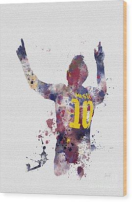 Messi Wood Print by Rebecca Jenkins